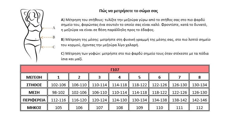 Μεγεθολόγιο Γ107Δ