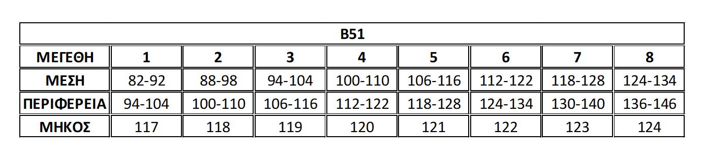 Μεγεθολόγιο παντελόνα Β51