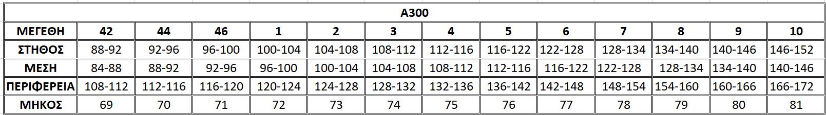 Μεγεθολόγιο μπλούζας Α300