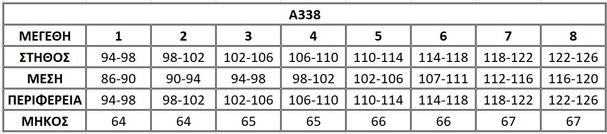 Μεγεθολόγιο μπλούζας Α338