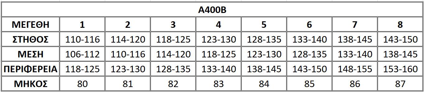 Μεγεθολόγιο μπλούζας Α400Β