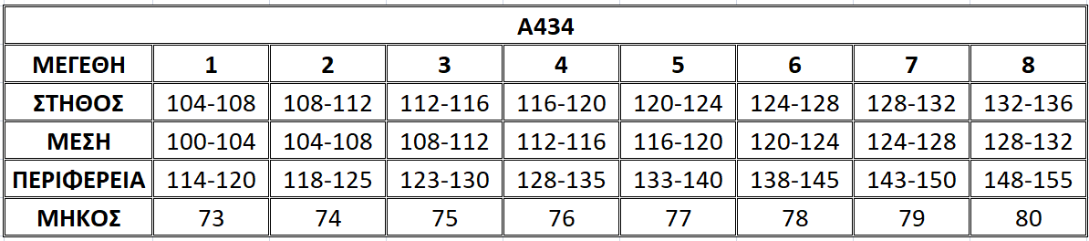 Μεγεθολόγιο μπλούζας Α434