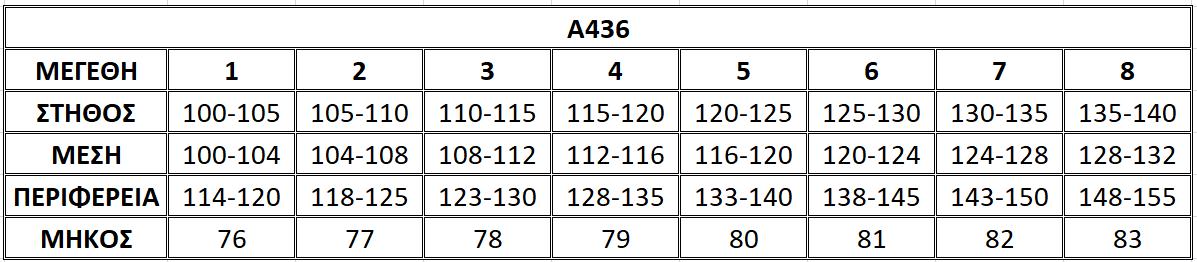 Μεγεθολόγιο μπλούζας Α436