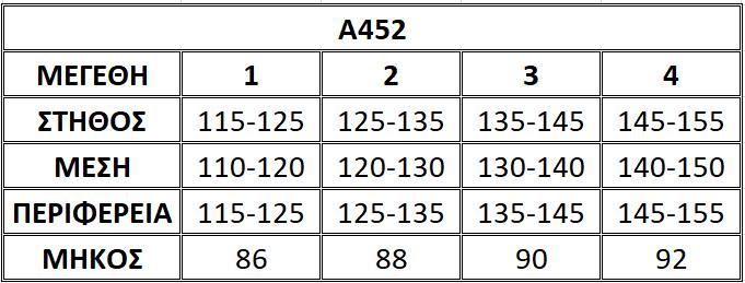Μεγεθολόγιο μπλούζας Α452