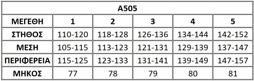 Μεγεθολόγιο μπλούζας Α505