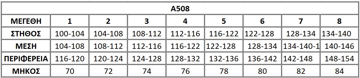 Μεγεθολόγιο μπλούζας Α508