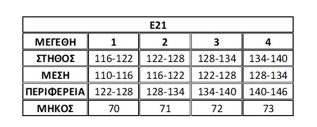 Μεγεθολόγιο Ε21