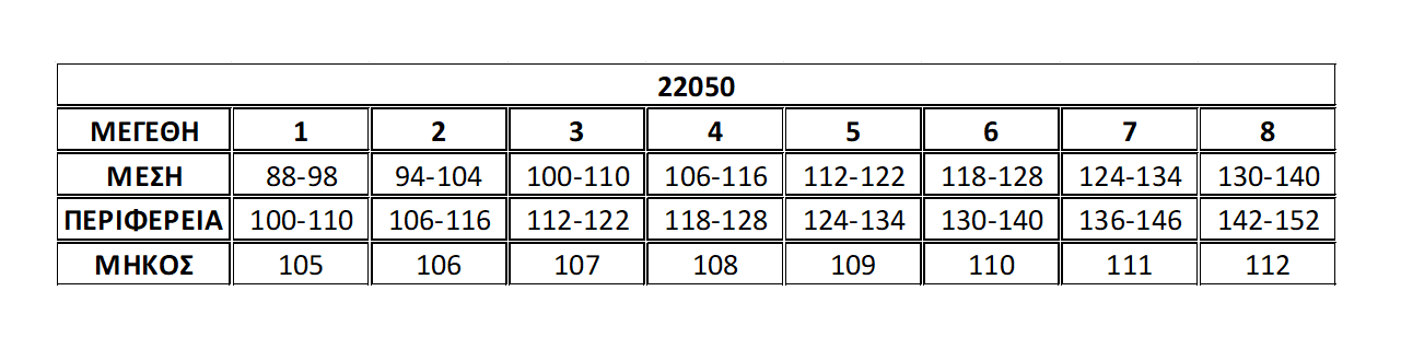Μεγεθολόγιο παντελόνα 22050